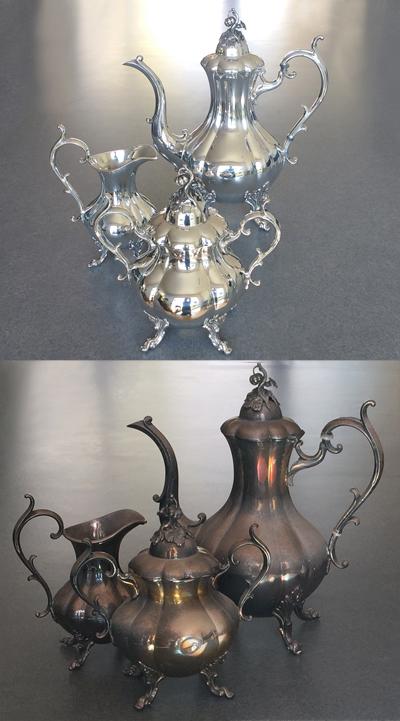 Pulir jarrón plata antiguo