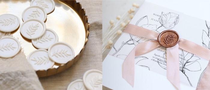 Accesorios decoración boda, sellos lacrados