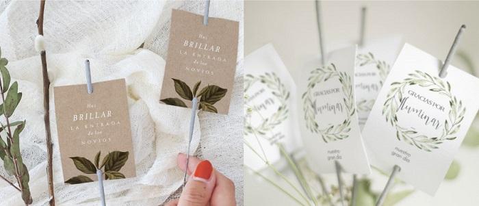 Accesorios decoración boda, tarjetas para bengalas