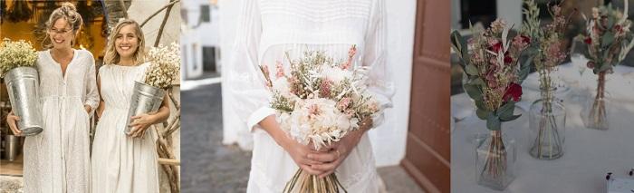 Accesorios decoración boda, flores secas
