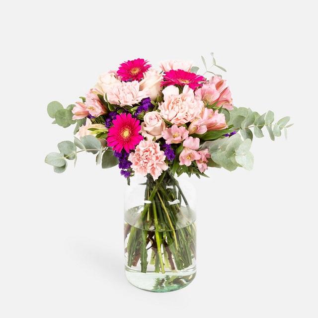 Ramo de flores San Valentín con gerberas y rosas