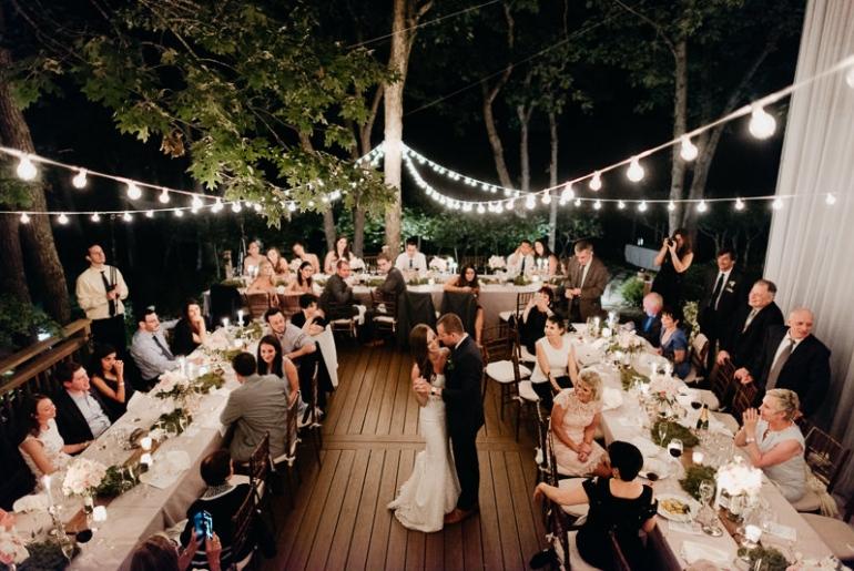 Banquete boda jardín de noche