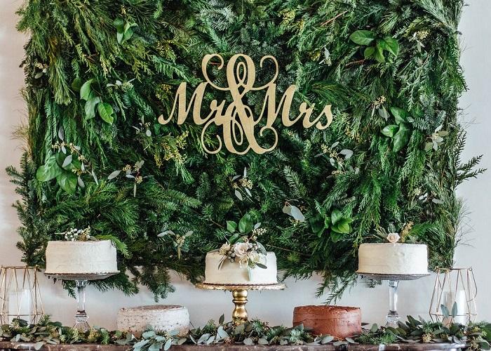 Tendencia en flores para boda 2020, muro verde