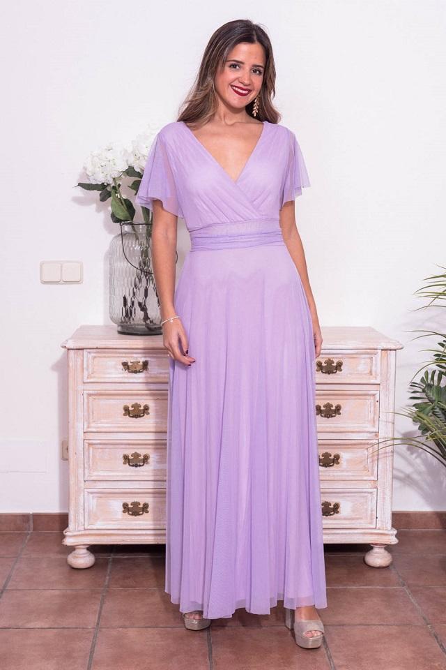 Vestido de invitada de boda lila
