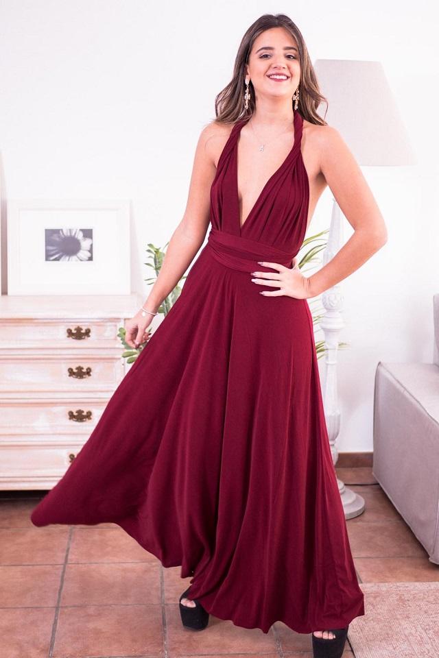 Vestido de invitada de boda de noche color rojo