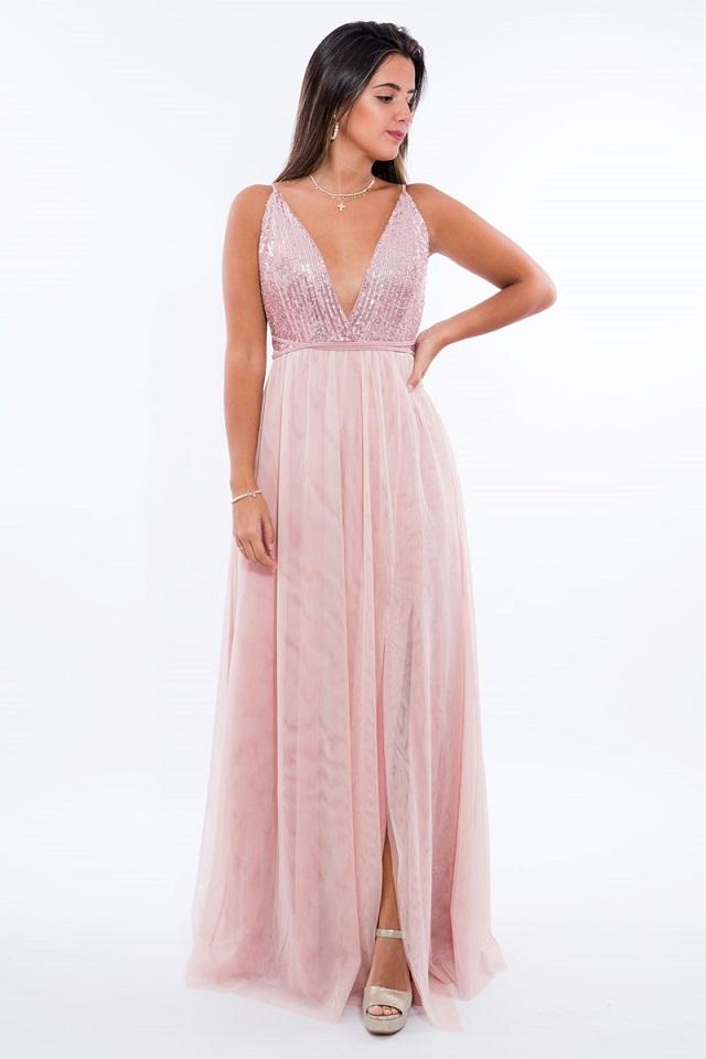 Vestido de invitada de boda de noche color rosa