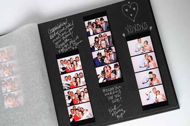 Álbum de firmas para boda con fotos de fotomatón