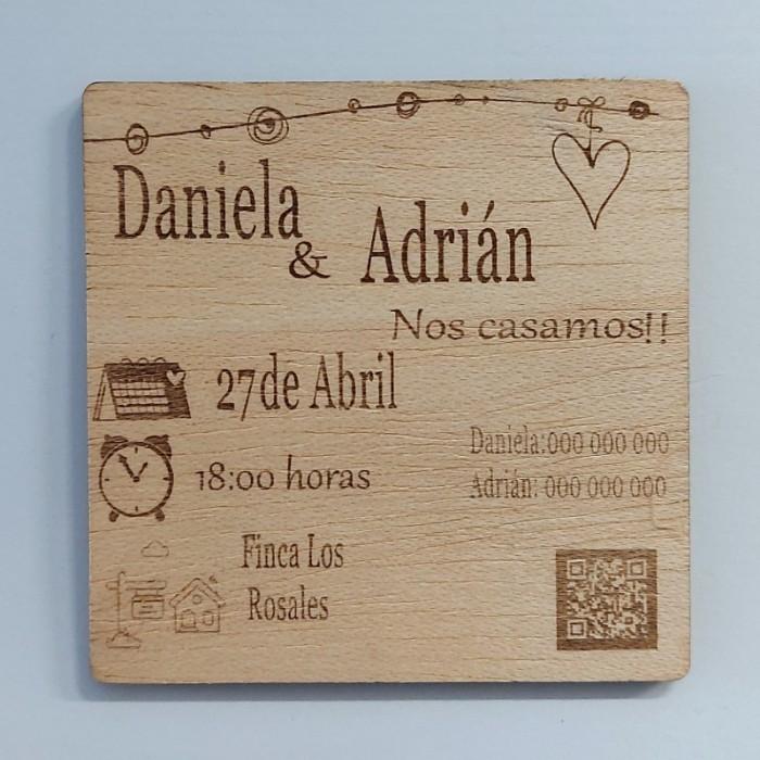 Invitación de boda de madera personalizada