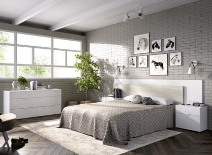 Conjunto dormitorio matrimonio moderno blanco
