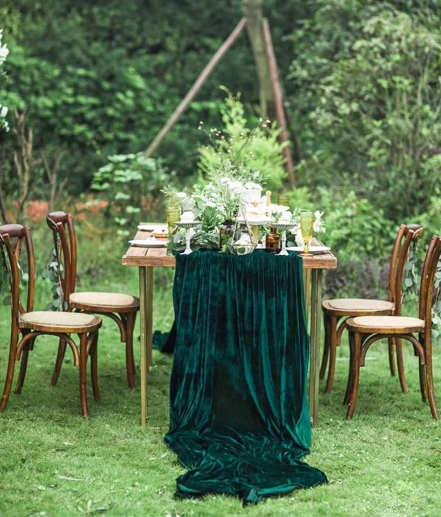 Tela de terciopelo para caminos de mesa de boda