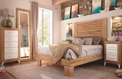 Conjunto dormitorio matrimonio industrial madera gruesa