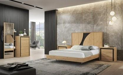 Conjunto dormitorio matrimonio de diseño madera y negro