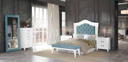 Conjunto dormitorio matrimonio romántico cabezal tapizado