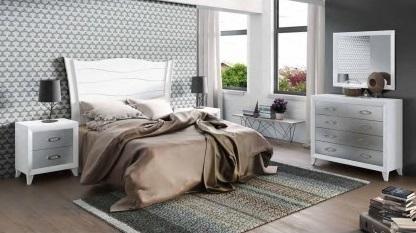 Conjunto dormitorio matrimonio romántico blanco