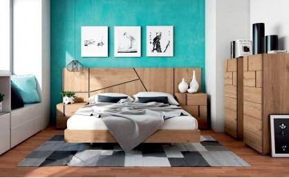 Conjunto dormitorio matrimonio moderno madera