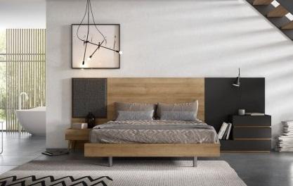 Conjunto dormitorio matrimonio moderno marron y gris