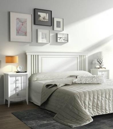 Conjunto dormitorio matrimonio romántico blanco colonial