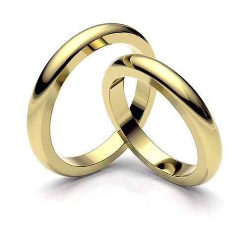 Alianza de boda con laterales planos