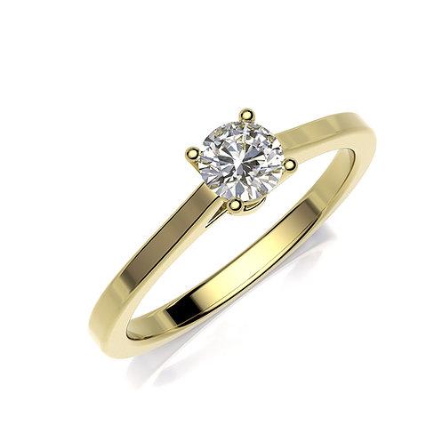 Anillo de compromiso oro amarillo y diamante